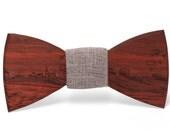 Skyline Wooden Bowtie - Paduak W/Dark Gray Fabric