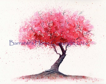 Blossom Tree, fine art, Giclee Watercolour Painting Print A4. Archival quality inks
