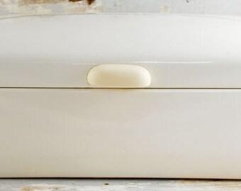 Vintage antique  German bread box cream enamel