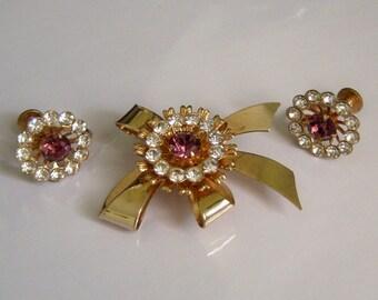 Coro Jewelry Set. Brooch Earring Set. Amethyst Clear Stones. Signed Jewelry Sets. Screw Back Earrings.