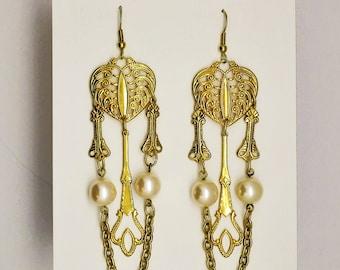 Vintage Goldtone Pearl and Chain Chandelier Earrings