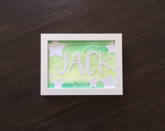 Watercolor Name Art - Star Lime - 5x7 Framed