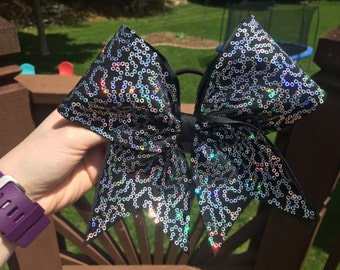 Black with Silver Squiggle Sequins Cheer Bow