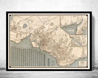 Vintage Map of Honolulu Hawaii - fine reproduction