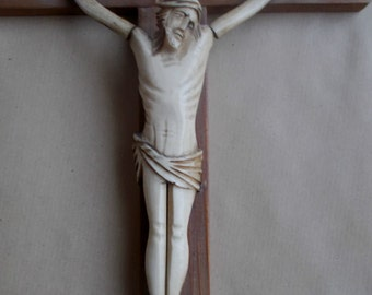 Rare French 18th century hand carved sculpted crucifix reliquary cross Jesus  sculpture black wooden rosetree wood crucifix gothic religious