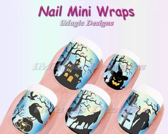 halloween nail mini wraps waterslide nail decals stickers spooky halloween