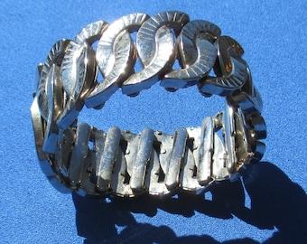 Vintage Expandable Textured Metal Bracelet