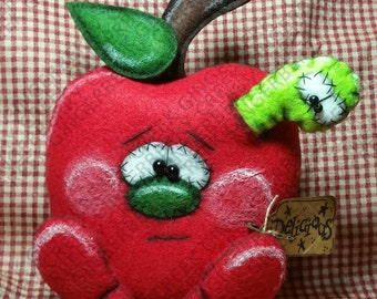 E-Pattern - Food For Thought Pattern #218 - Primitive Doll E-Pattern - Apple and Worm - Summer - Teachers