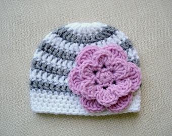 Newborn girl hat Newborn Photo prop hat Baby girl hat Newborn hat Crochet baby hat Newborn beanie with flower Photography New born outfit