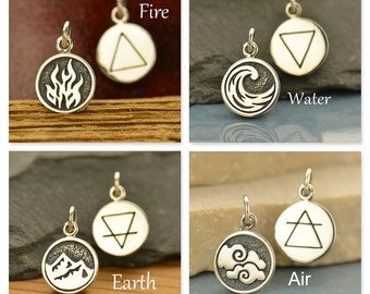 Sterling Silver 4 Elements Charms