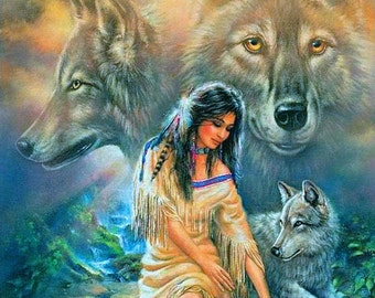 Native American Girl and Spirit of the Wolves Cross Stitch Pattern 14 ct. Aida