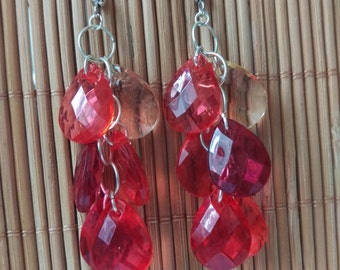 Red Chandelier Drop Earrings