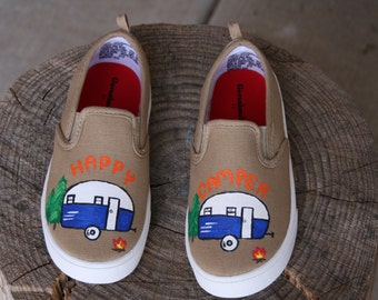 HAPPY CAMPER SHOES, Painted shoes, Camping shoes, trailer, Toddler and Children sizes