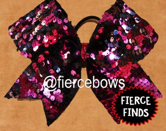 Hot Pink and Black Reversible Sequin Cheer Bow
