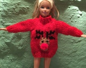 Sindy / Barbie hand knitted rudolph christmas jumper various colours made to order