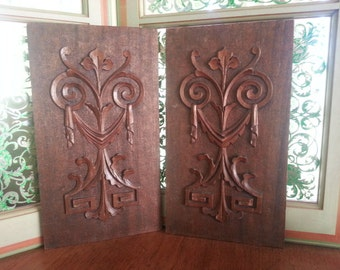 Pair of Antique Handcarved Decorative Wood Panels clear mahoghany wood with gothic revival in edwardian style with foliage drapery scrolls