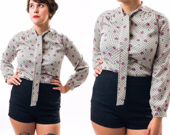 SALE - Vintage 70's Pink Flower Long Sleeve Button Up Blouse / Faux Silk / Women's Size M