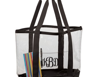 Clear Large Tote Bag with Your Monogram