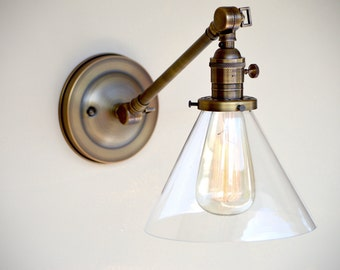 Sconce lighting with Glass Cone Shade Adjustable Arm Fixture