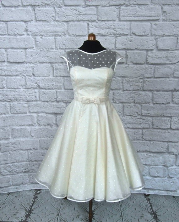Items similar to the dotty silk tea length wedding dress for Etsy tea length wedding dress