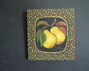 Original Handpainted Yellow Pear Oil Painting on Vintage Fabric - Kitchen Decor