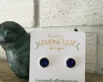 Navy/deep purple druzy stud earrings