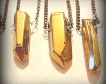 Gold-Dyed Quartz Pendant Necklace