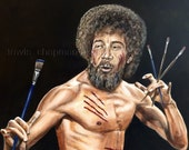 """Bob Ross the canvas assassin with the kung fu grip. 16""""x20"""" This is a print of my painting."""