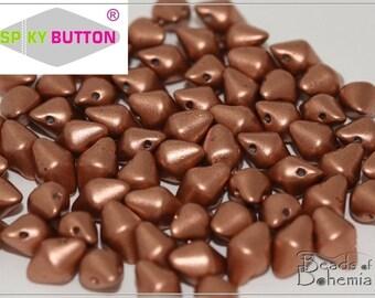 50 pcs Silky Metallic Copper Czech Glass Spiky Button Beads 4.5x6.5 mm (10220)