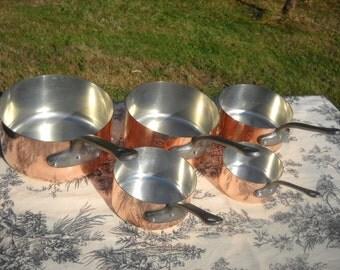 Copper Pans Les Cuivres de Faucogney Set of Five Vintage French Copper Professional Graduated Pans, Cast Iron Handles