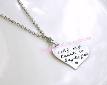 Half my heart is deployed. Hand stamped pendant w/ stainless steel chain. Deployed, Military, Exchange Student, Long Distance Relationships.