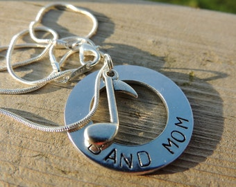 Necklace for band mom, Marching band jewelry, Personalized BAND MOM necklace, custom jewelry for music lovers, Sports jewelry, music jewelry
