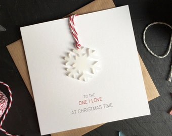 To the One I Love at Christmas Time // Christmas Card with Frosted Perspex Snowflake Tree Decoration