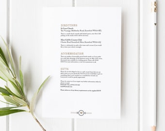Elsie // Rustic Wedding Invitation - Additional Info // Black White and Beige // DIY Printable File // Digital PDF File