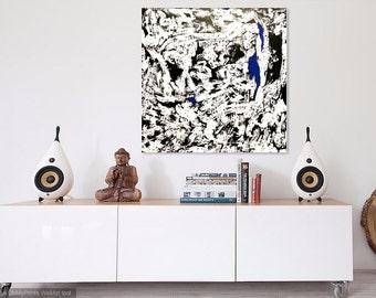 48x48 black, white, blue ORIGINAL painting