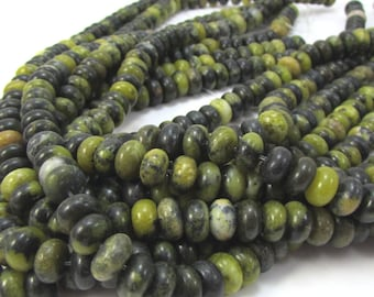 Serpentine Beads, Natural Multi-Colored 8x5mm Rondelle Beads, 15 inch Strand, 8mm Green Gemstone Beads, Beading Supplies, Item 1126pm