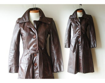 "70s Leather Coat/ Made in Canada/ Waist 28"" Length 43""/ Dark Chocolate Brown Trench/ Attached Belt/ Midi Coat/ 70s Fashion/ 70s Style"