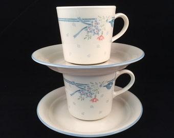 """Symphony by Corelle/Corning Cup and Saucer Sets, """"Suprema"""" 2 Sets, 4 Pieces Total"""