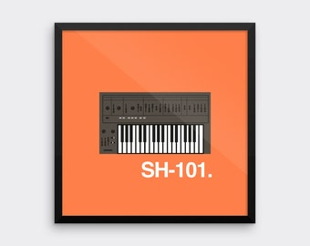 Roland SH101 Synthesizer Art Print Analog Synth Vintage Graphic Poster Home Geek Music Retro Keyboard Musical Instrument Musician
