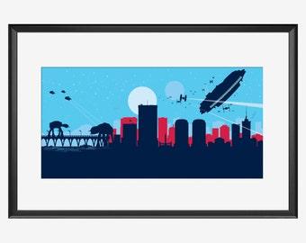 Richmond Skyline print, Star Wars inspired print, Richmond poster, Richmond artwork, Richmond print, Star Wars print, nursery, Richmond art
