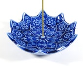 Lotus Bloom Incense Burner - Cobalt Blue Ceramic Incense Holder - Third Eye Chakra Meditation Aid