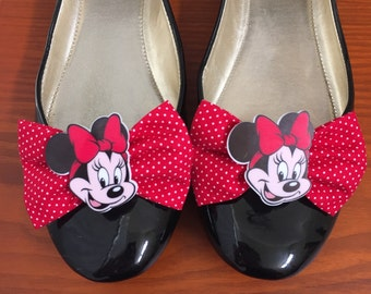 Minnie Mouse inspired Red Polka Dot Shoe Bows, Shoe Clips