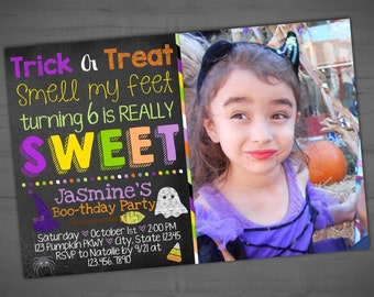 Halloween Photo Birthday Invitation - Costume Party Invite - Chalkboard Boo-thday Party - Printable or Printed - SHIPPING INCLUDED - 4x6