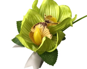 Pin Corsage/boutonniere:green Artificial Orchids with Gray Ribbon.(ribbon Color Can Be Changed)