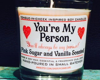 Best Friend Candle Soy Candle-  pink sugar and vanilla Scented Candle -- Best Friend Gift- Natural- Soy Candle