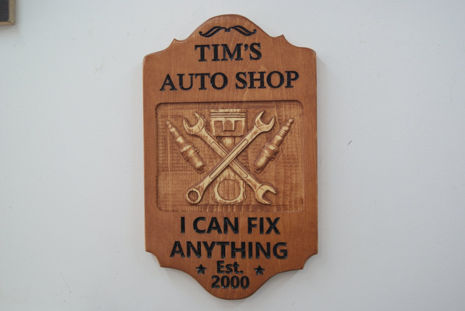 Personalized Garage Signs For Automotive : Custom personalized garage sign d graphics wooden carved
