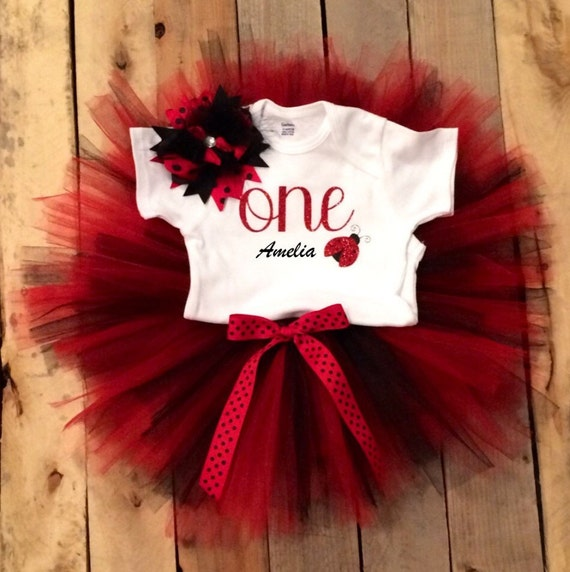 Baby Girl 1st Birthday Outfit Ladybug 1st By