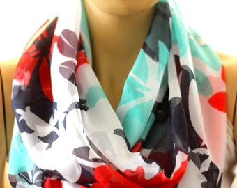 Flowers infinity scarf - gift ideas, trending items, scarves, fashion, woman accessories, accessories , infinity scarf, scarves, loop scarf