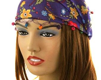 purple Flower Lace Headband Hair Bands Boho -  headband - cotton headband - purple lace headband - headband