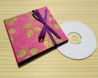 CD Case in Pink and Purple, DVD Packaging, Choice of Outer Lokta, Choice of Ribbon.